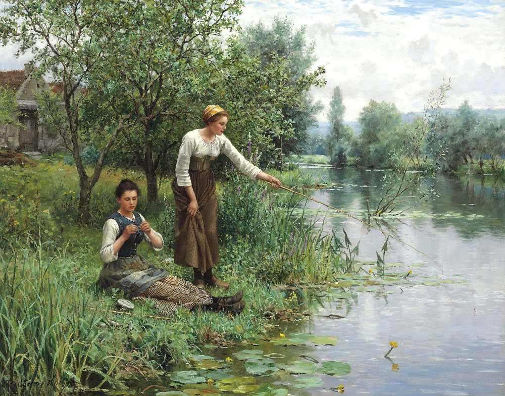 Two Women Fishing by Daniel Ridgway Knight
