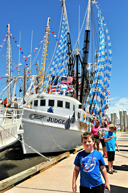 Jonah in front of the boat