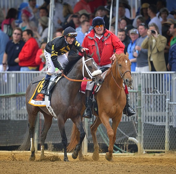 Jockey Gary Stevens Patting Oxbow