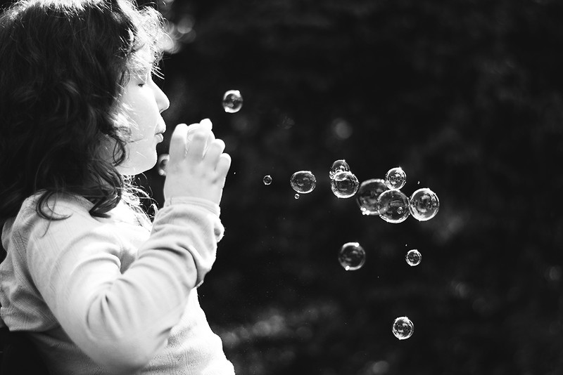 soap bubbles bw