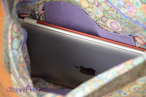inside of Finished sidekick tote ipad fits!
