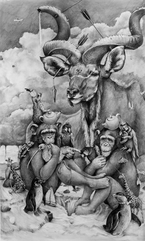 Adonna Khare, Kudu and Two Chimps, 2013