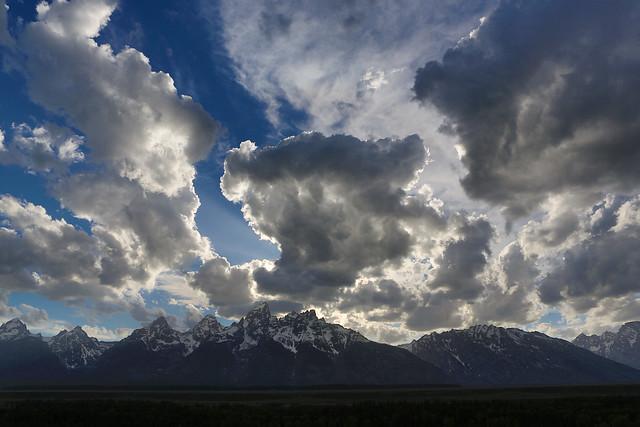 Dramatic clouds over Teton Range, near sunset, #1 of 4