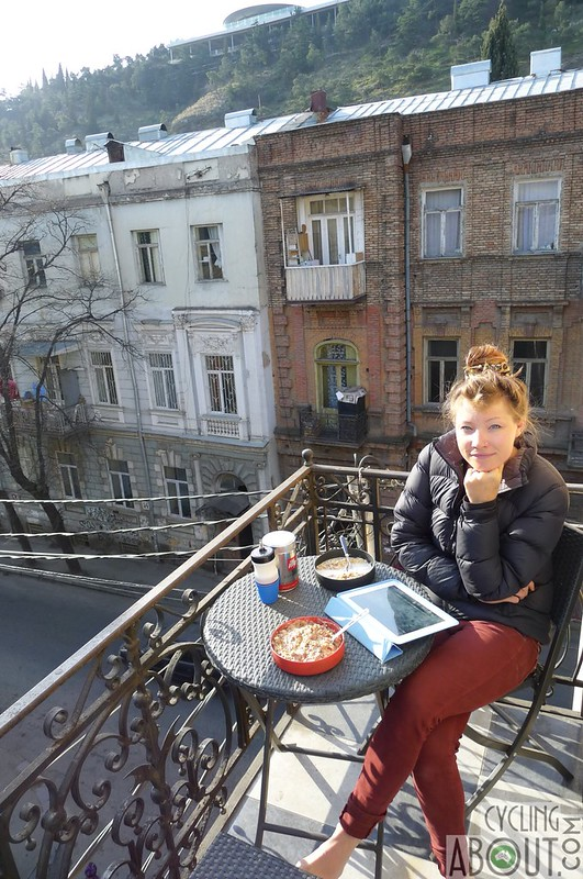 Tbilisi old town eating breakfast