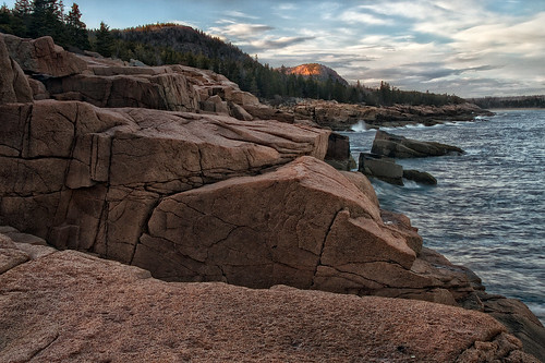 ocean trees sunset sea vacation sunlight mountains beach nature forest evening rocks shore geology acadia acadianationalpark seasacpe