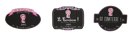 Création d'étiquettes pour un vin rosé.
