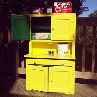 Play kitchen for LB at Grandma & Grandpa's house is done! #after