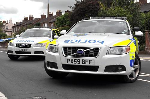 Pair of Cumbria Police ANPR Volvo Estate cars, at a hit-n-run incident, in Carlisle.
