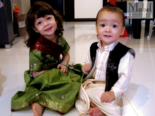 The kids in their traditional outfits