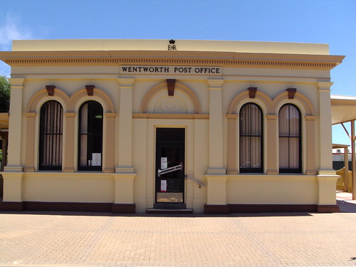 Wentworth Post Office built 1899 in Greek Classical style. Pilasters beside doorway, roof pediment, paired windows and perfect symmetry.