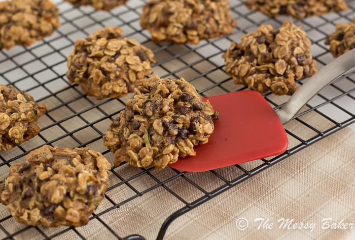 Skinny Chocolate Chip Zucchini Oat Cookies | www.themessybakerblog.com -8465