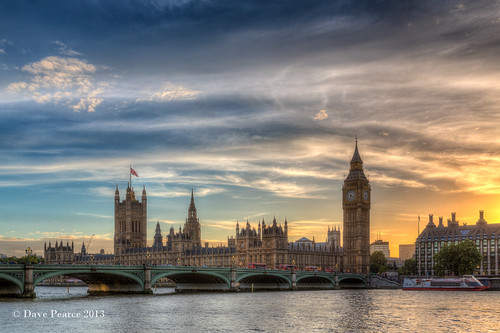 Big Ben at sunset.