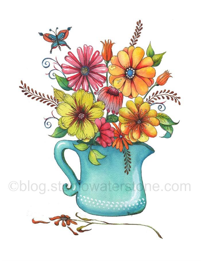 floral-w-turquoise-vase-art print