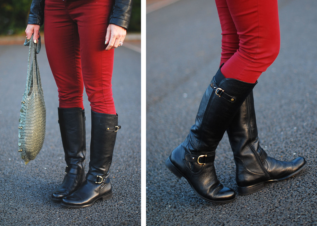 Black riding boots & red skinnies