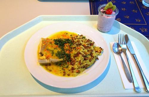 Orangenpochierter Seelachs an Linsenreis mit Gemüsekonfetti / Orange poaches coalfisch with lentil rice
