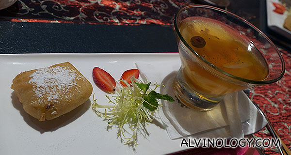 Golden Ingots of Fortune - Crispy Puree Durian Fritters served with a side of fruit cocktail