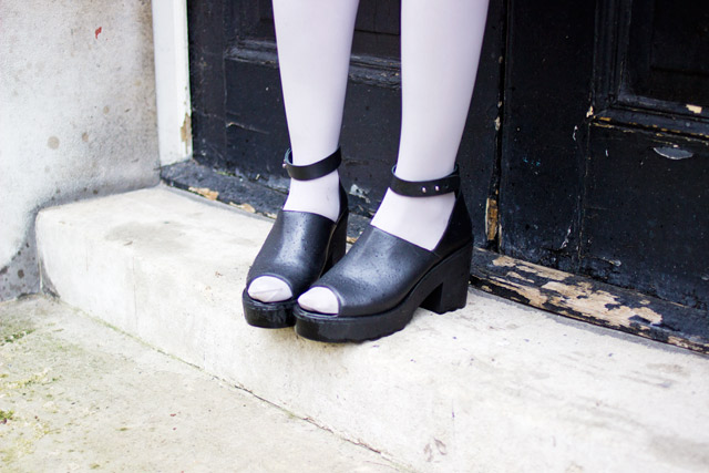 Urban Outfitters Out From Under chunky peep toe Kimberley heels worn with tights