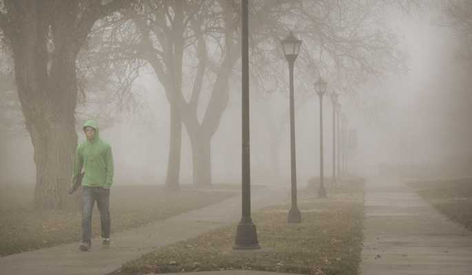 Student Walking in Fog