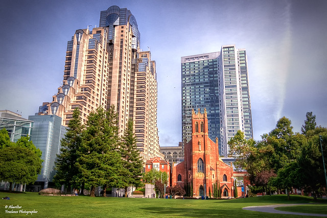 St. Patrick's Catholic Church from Yerba Buena Gardens. San Francisco (California)