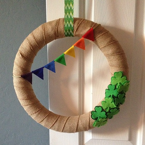 Whipped up a quick St. Patricks Day wreath today #crafting #stpatricksday