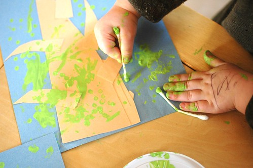 Q-Tip Painting: Budding Trees