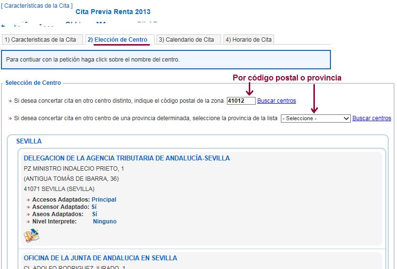 Cita Renta 2013 paso 2 Elección de centro