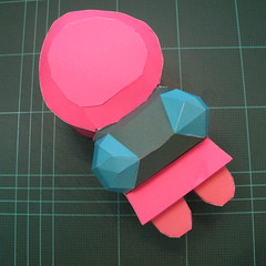วิธีทำโมเดลกระดาษตุ้กตาคุกกี้รัน คุกกี้รสสตอเบอรี่ (LINE Cookie Run Strawberry Cookie Papercraft Model) 033
