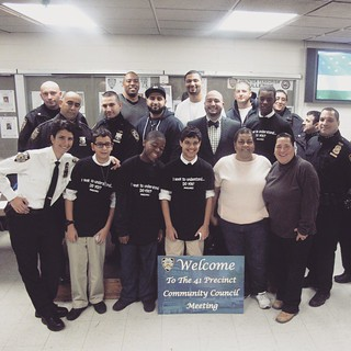 Last night, a few of Hyde's 8th grade young men presented at the 41st Precinct Community Council Meeting their plan to foster more trusting relationships between teenagers and police officers through a community walk. The local officers warmly embraced th