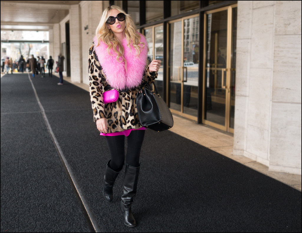 FW-2-15  8w leopard coat with pink fur trim legging knee high black boots