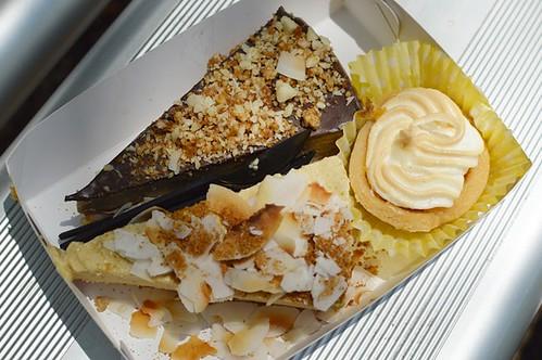 Salted macadamia caramel cheesecake, lemon meringue cups, salted mango cheesecake ice cream