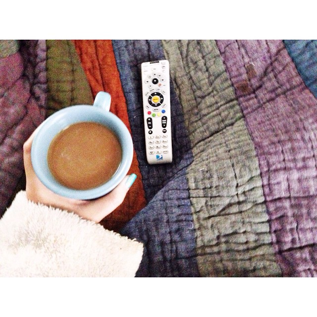 Drinking coffee in bed and catching up on Downton Abbey #lazylikesundaymorning