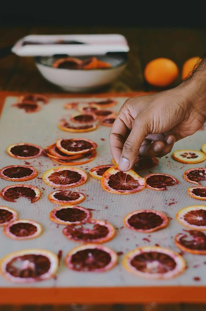 candied blood orange chips with maldon sea salt flakes and fennel | A Brown Table