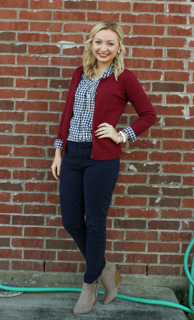 gingham button up and maroon cardigan