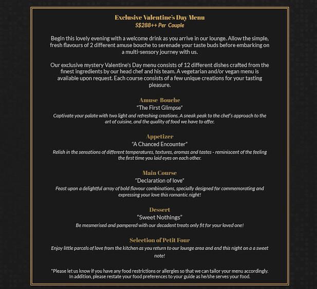 vday menu