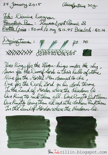 Diamine Evergreen on Clairefontaine