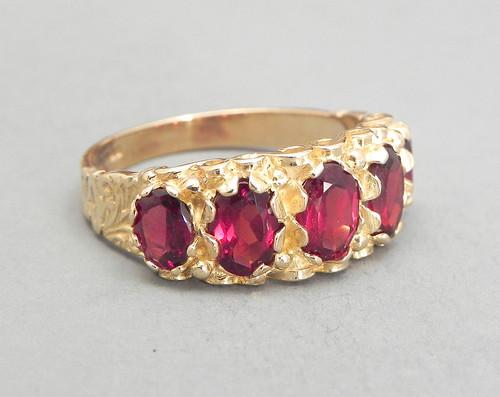 Vintage Garnet Ring Set In 9ct Gold 3.5ct Red Garnet Size 7.25 Garnet 5 Stone Cluster Red Ring Right Hand Ring