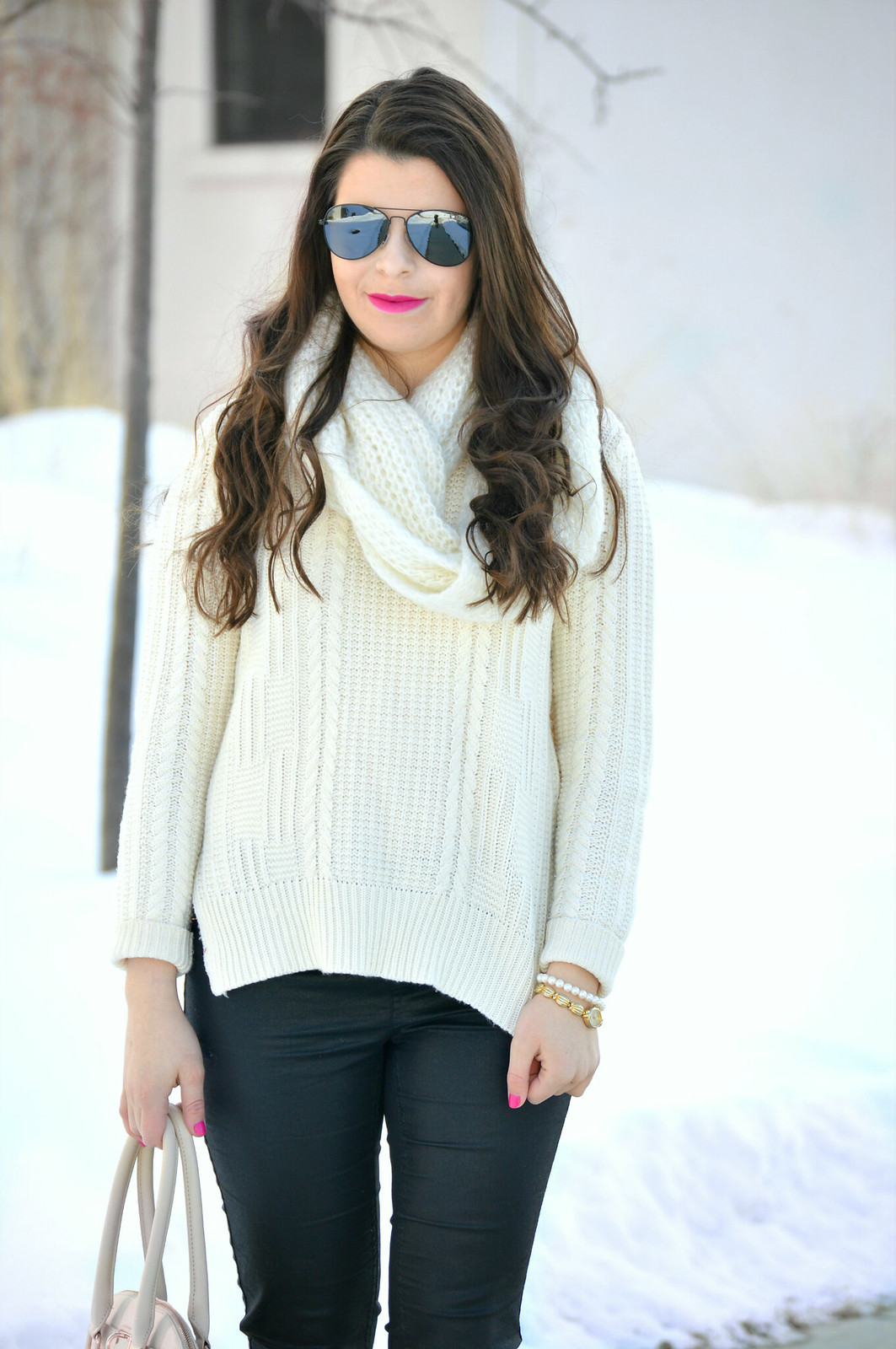 sweater and faux leather