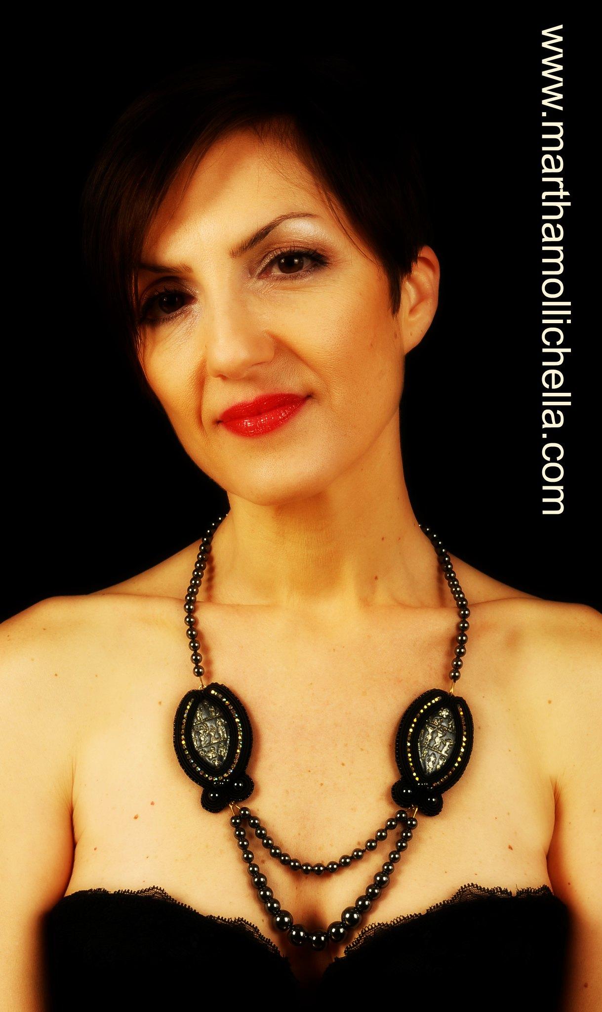 hematite pearls black necklace soutache handmade by Martha Mollichella