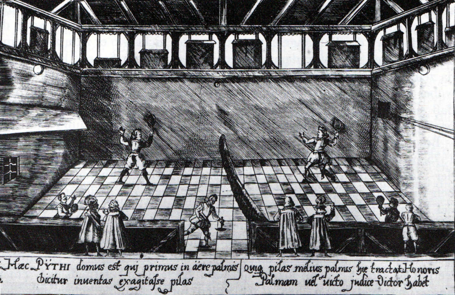 Copper engraving of a tennis game at the College Illustre (university) of Tübingen, Germany