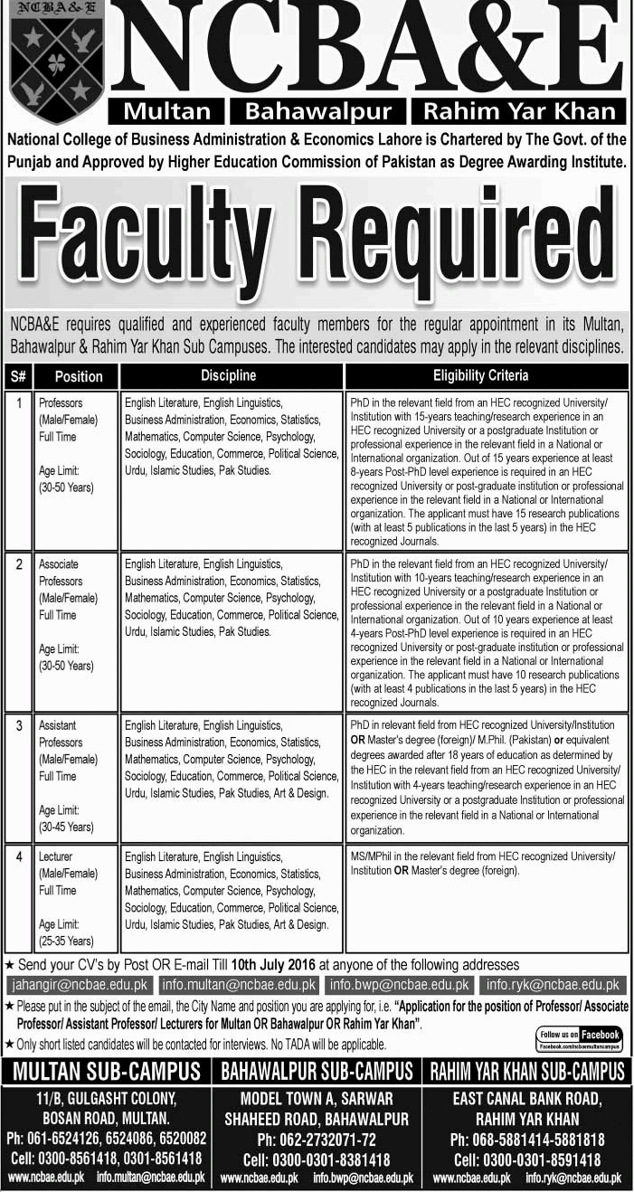 NCBA and E University Faculty Required