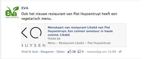 Facebook EVA Huysentruyt ook vegetarisch