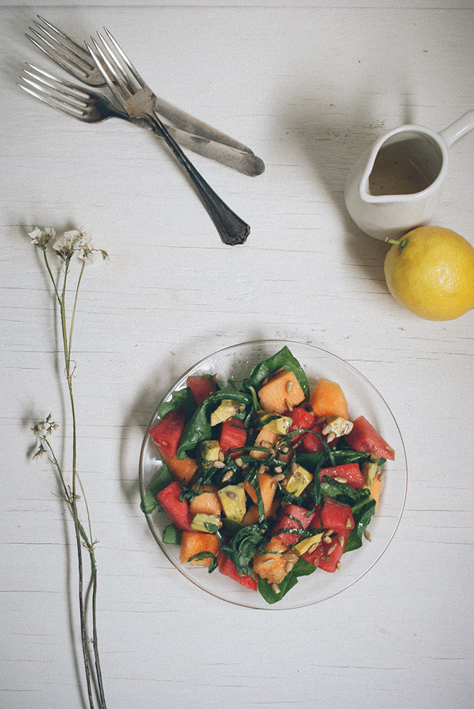 Melon & Avocado Salad with Lemon Basil Olive Oil Dressing