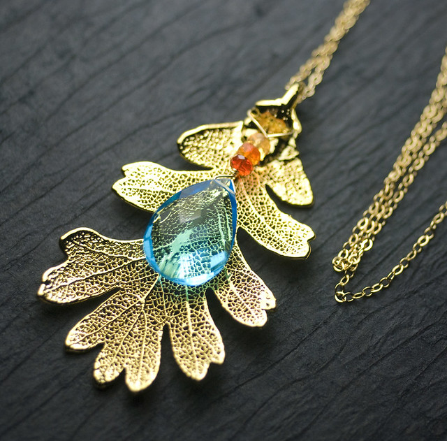 REAL Gold Oak Leaf Pendant, Swiss Blue Quartz