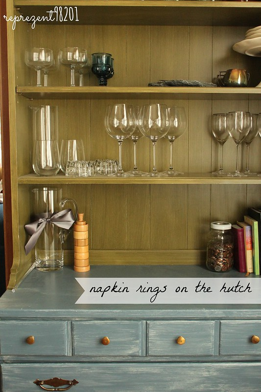 napkin rings on the hutch