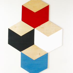 natural and painted hexagon plywood trivet
