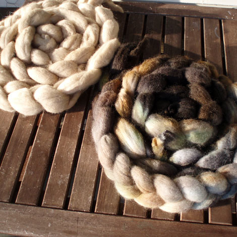 dyed corriedale to be spun on my wheel :) (when it arrives)