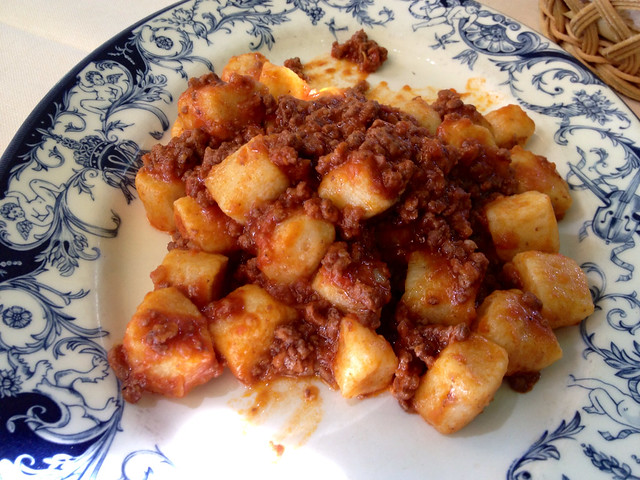 Gnocchi with Wild Boar sauce.
