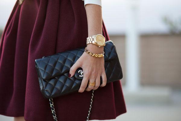 fall-burgundy-skirt-wool-full-pockets-catherine-malandrino-los angeles-fashion blogger
