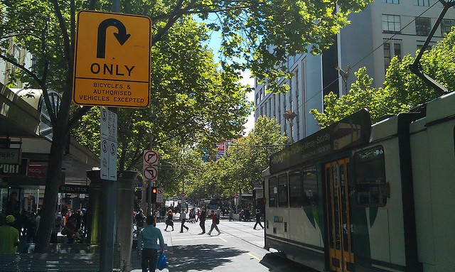 Northbound Swanston St approaching Bourke St