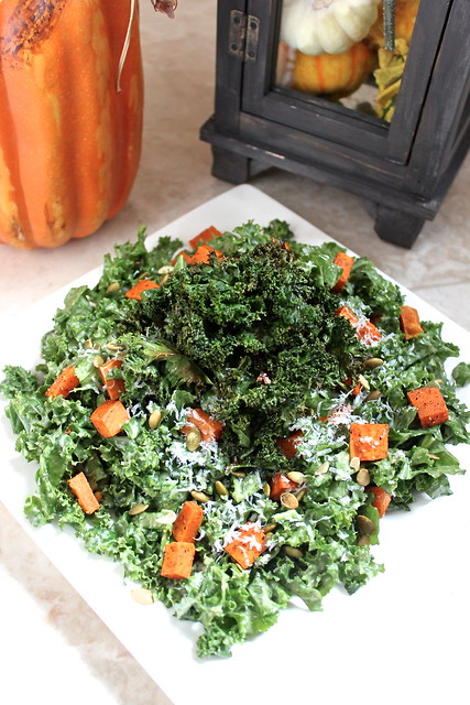 Kale Salad with Spiced Sweet Potatoes, Crispy Kale and Sweet Sesame ...